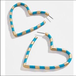 BaubleBar Annaella Blue Gold Hoop Earings.